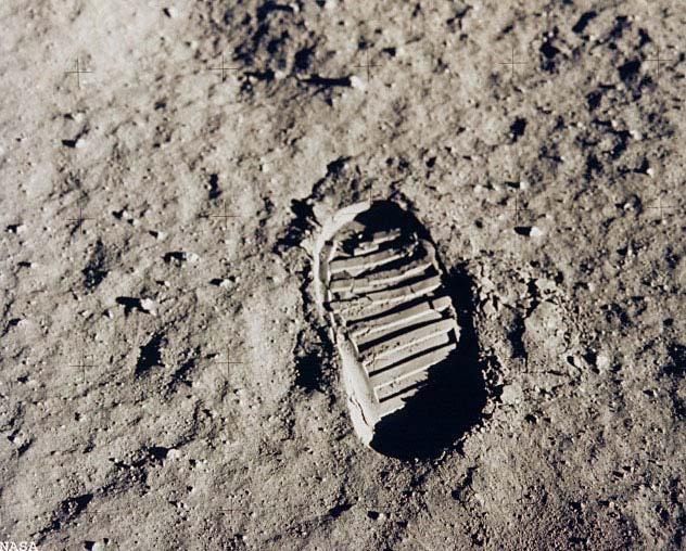 First Footprints on the Moon