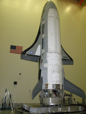 The X-37B/OTV spacecraft undergoes final testing at Boeing for a 2010 test flight. Click to enlarge.