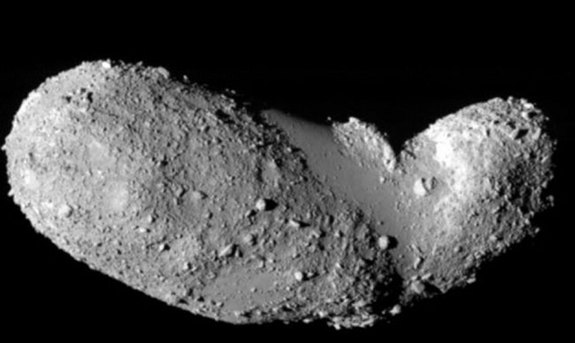 Named 25143 Itokawa, this asteroid is some 540 meters by 270 meters by 210 meters. Japan's robotic Hayabusa spacecraft rendezvoused with asteroid Itokawa in mid-September 2005 and studied the space rock's shape, spin, topography, color, composition, densi