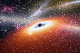 "Illustration of a young black hole, such as the two distant dust-free quasars spotted recently by the Spitzer Space Telescope. <a href=""http://www.space.com/31-black-holes-universe.html"">More photos of black holes of the universe</a>"