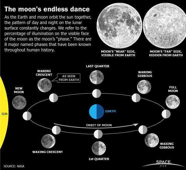 As the Earth and moon orbit the sun together, the moon goes through several 'phases.' SPACE.com explains the 8 major named phases of the moon.