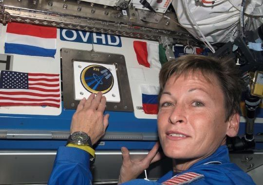 Veteran NASA astronaut Peggy Whitson places her mission patch on the International Space Station during the Expedition 16 mission.