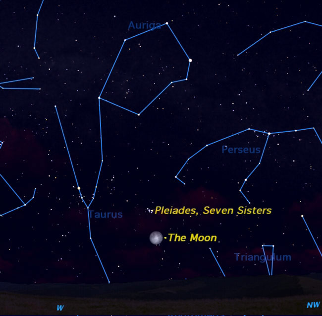 Full Moon to Dance With Pleiades Star Cluster