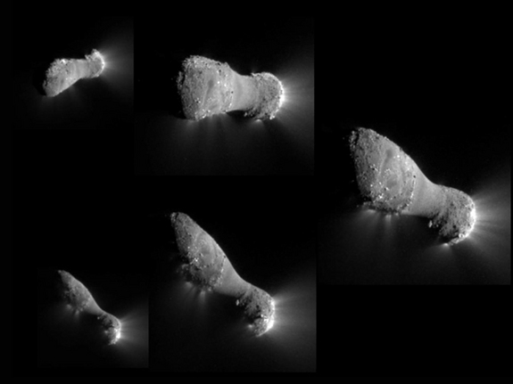 This image montage shows Comet Hartley 2 as NASA's EPOXI mission approached and flew under the comet. The images progress in time clockwise, starting at top left.