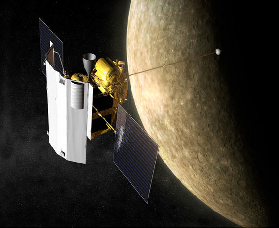 Artist's impression of the MErcury Surface, Space ENvironment, GEochemistry, and Ranging (MESSENGER) spacecraft in orbit at Mercury.