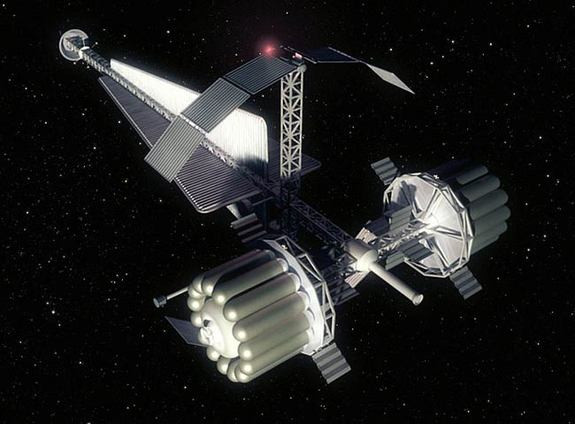 An artist's concept of a crew vehicle for NASA's Human Outer Planets Exploration (HOPE) Callisto concept mission, a five-year flight for six humans, studied in 2002. ESA researchers said such a long-duration mission could warrant the use of a hibernation system for human crewmembers.
