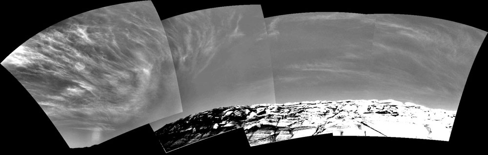 On Mars: Earth-Like Clouds and a New Type of Rock