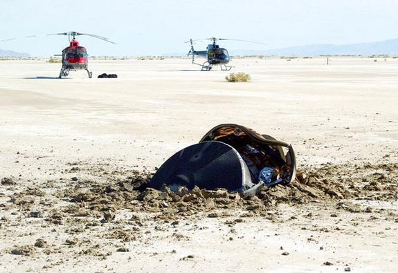 The Genesis return capsule slammed into the Utah dirt at nearly 200 mph on Sept. 8, 2004 when its parachute failed to deploy.