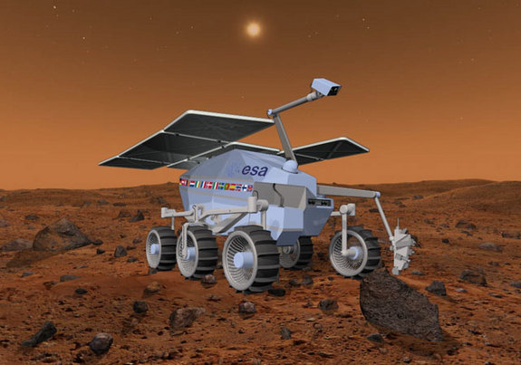 The European Space Agency's ExoMars rover is due to launch toward the Red Planet in 2018. In this artist's view, note the ExoMars robotic arm and drill.