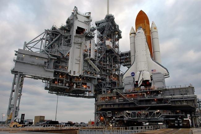 Space Shuttle Discovery Back Inside Hangar