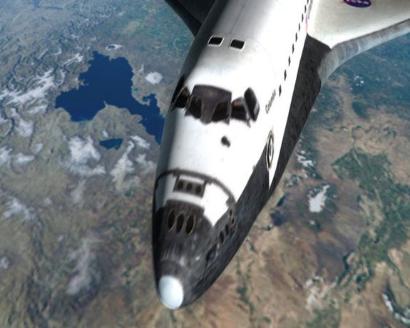 "A close-up view of the Space Shuttle Columbia as it orbits Earth in National Geographic Channel's <a href=""http://www.space.com/1241-tv-review-seconds-disaster-columbia-flight.html"">""Seconds from Disaster: Columbia's Last Flight.""</a>"
