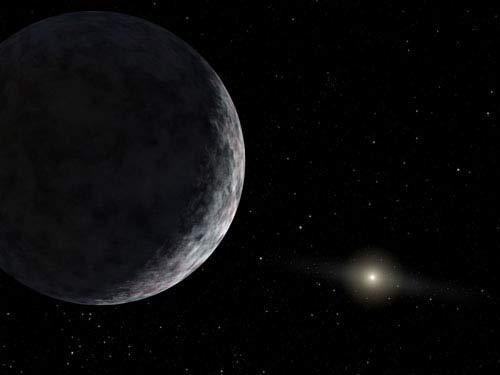 Artist's rendering of Eris, announced in July 2005 by Mike Brown of Caltech. It is more massive than Pluto. The sun is in the background.