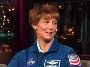 "STS-114 shuttle commander Eileen Collins on the ""Late Show with David Letterman."""
