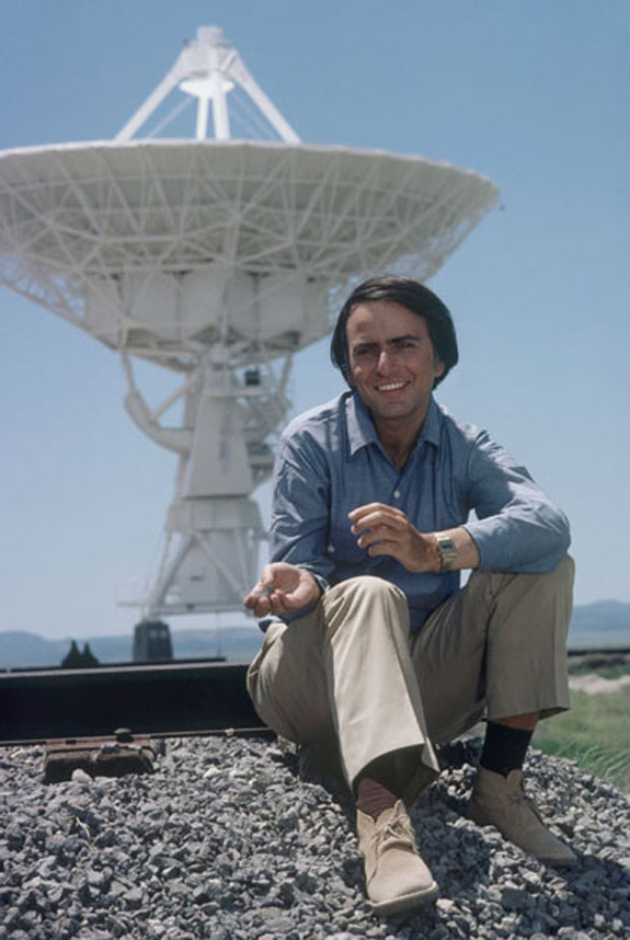 Carl Sagan at the Very Large Array in New Mexico.