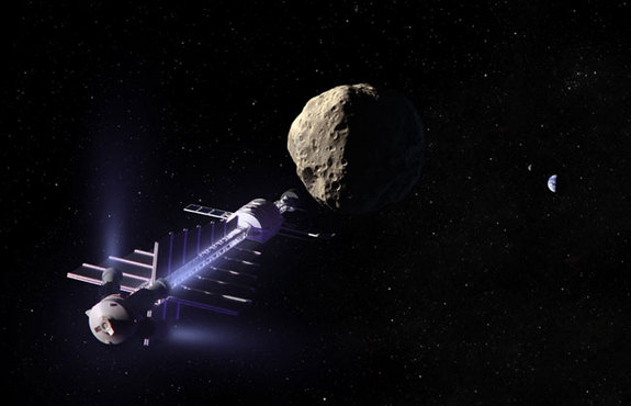 A concept spacecraft could use gravity to tow asteroids away from a collision course with earth.