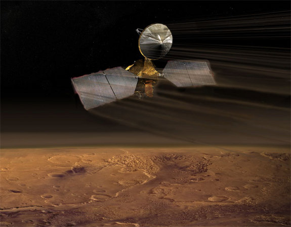 "Putting on the brakes! Mars Reconnaissance Orbiter is now dipping into the martian atmosphere to adjust its orbit. The controlled use of atmospheric friction is a process called ""aerobraking"", a technique that changes the initial, very elongated orbit of the orbiter into a rounder shape optimal for science operations at Mars. Image"