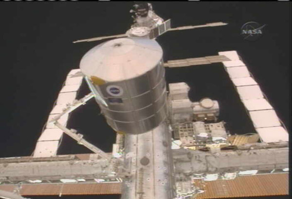 Orbital Delivery: Shuttle Crew Installs Fresh ISS Cargo Pod