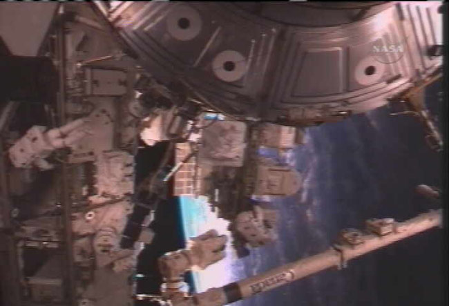 Shuttle Spacewalkers Make Vital ISS Railcar Repair