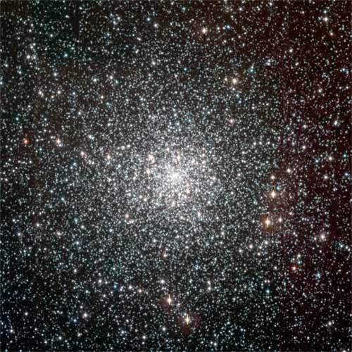 The globular cluster NGC 6397 contains around 400,000 stars and is located about 7,200 light years away in the southern constellation Ara. With an estimated age of 13.5 billion years, it is likely among the first objects of the Galaxy to form after the Big Bang.
