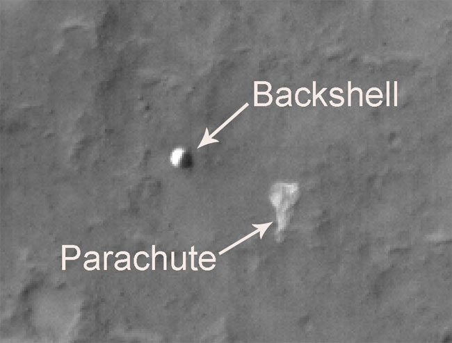 Mars Orbiter Photographs Three Old Spacecraft