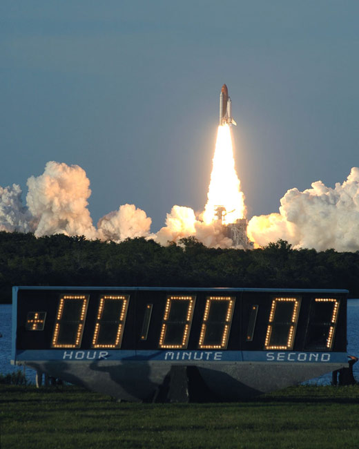 Liftoff! Shuttle Atlantis Rockets Towards Space Station