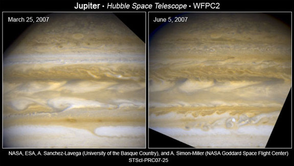 Hubble catches Jupiter changing its stripes. High and low elevation clouds switch places, changing their shape and color as they do so.