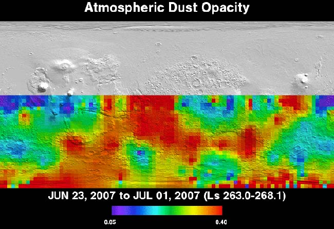 Martian Dust Storm Creeps North
