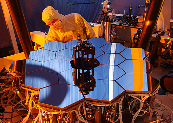 "Through a process called ""Wavefront Sensing and Control,"" or WFSC, software aboard the James Webb Space Telescope will compute the best position for each of 18 mirrors and one secondary mirror, and then adjust the positions. Engineers used a 1/6 scale model to test the WFSC software."