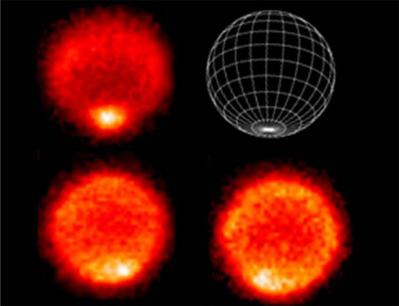 Thermal images show temperatures near the top of Neptune's troposphere (upper left image), with the hottest temperatures found at the south pole (see graphic, upper right). The lower two images show temperatures at higher altitudes in Neptune's stratosphere, or lower atmosphere.