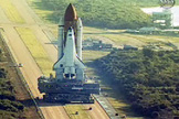 Space shuttle Atlantis rolls out to Launch Pad 39A on Nov. 10, 2007 for its launch in December.