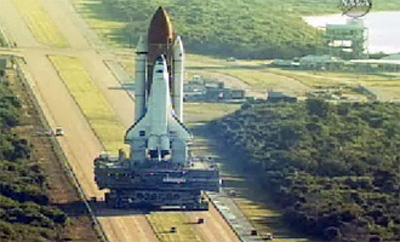 Space Shuttle Atlantis Rolls to Launch Pad