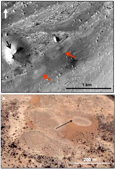 Mars Features Resemble Hydrothermal Springs