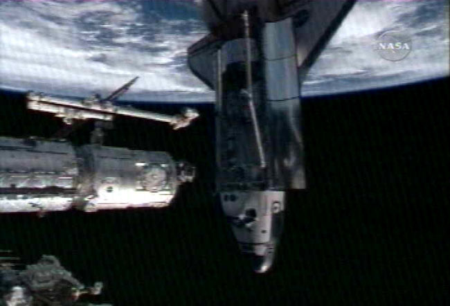 Shuttle Endeavour Docks at Space Station