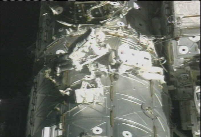 Spacewalkers Test Fire Shuttle Repair Goo Gun