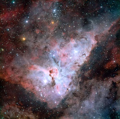 Violent Carina Nebula Seen in Detail