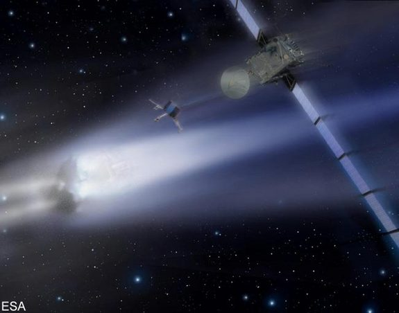 Rosetta - the comet chaser. An artist's depiction of Rosetta's arrival at its comet destination.