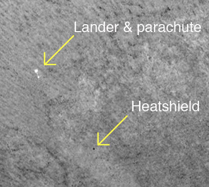 Mars Lander's Heat Shield Spotted From Space