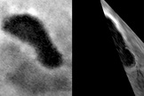 A partial view of Titan's Ontariou Lacus (right image) from 680 miles away, or 1,100 km away, shows what appears to be a beach in the lower right of the image, below the bright lake shoreline. An image was also taken of the lake feature in June 2005 (left image).