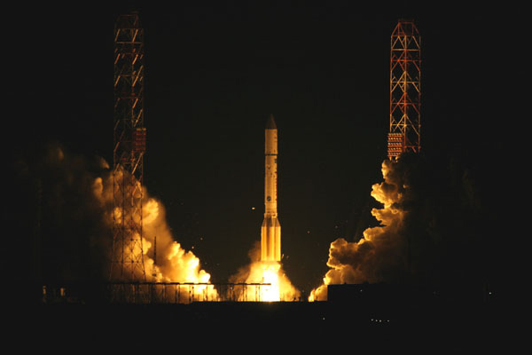 Russian Proton Rocket Launches Communications Satellite Pair