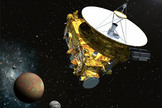 This artist's rendering depicts the New Horizons spacecraft as it approaches Pluto and its moons in summer 2015.