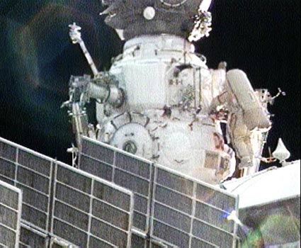 Spacewalkers Add New Experiments to Space Station