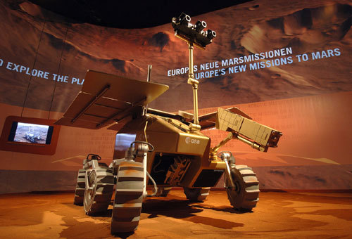 A mock-up of the European Space Agency's planned ExoMars rover.