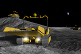 Small commercial robots the size of riding mowers could prepare a safe landing site for NASA's lunar outpost by surrounding it with an eight-foot high semi-circle berm to block grit kicked out by spacecraft landings from hitting nearby habitats.
