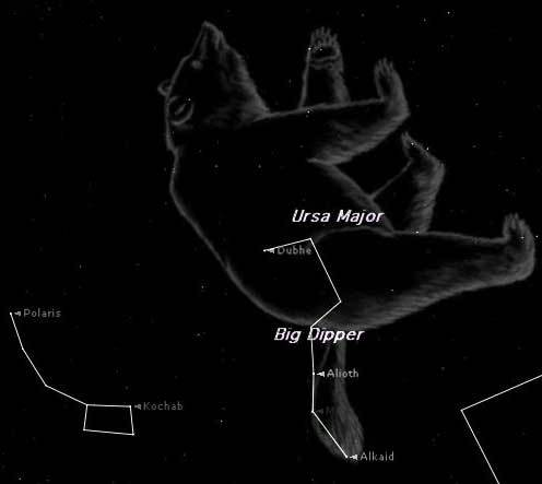 Look high in the sky toward the northeast this time of year and you can't miss the Big Dipper. Making out the Big Bear (Ursa Major) could prove a little more challenging. This map shows them at around 8 p.m. from mid-northern latitudes this weekend.