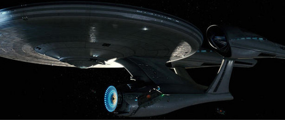 "A still from the 2009 film ""Star Trek"" showing the reimagined U.S.S. Enterprise."