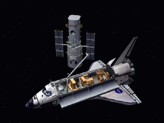 Shuttle Astronauts Close in on Hubble Telescope