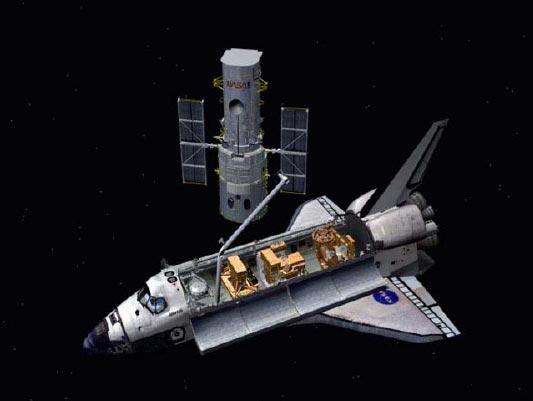 Shuttle Astronauts Close in on Hubble Telescope