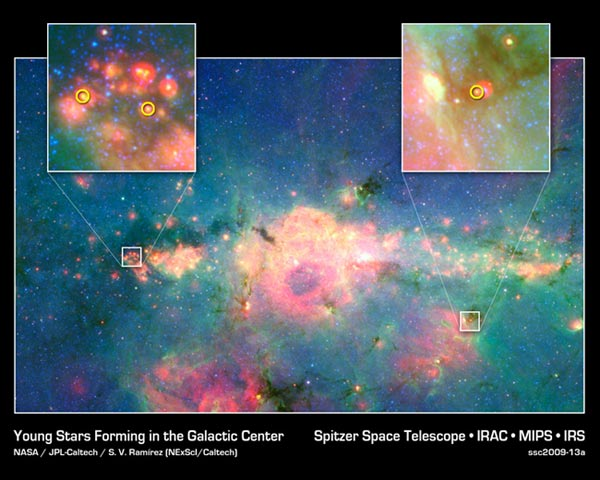 Baby Stars Found in Galactic Center
