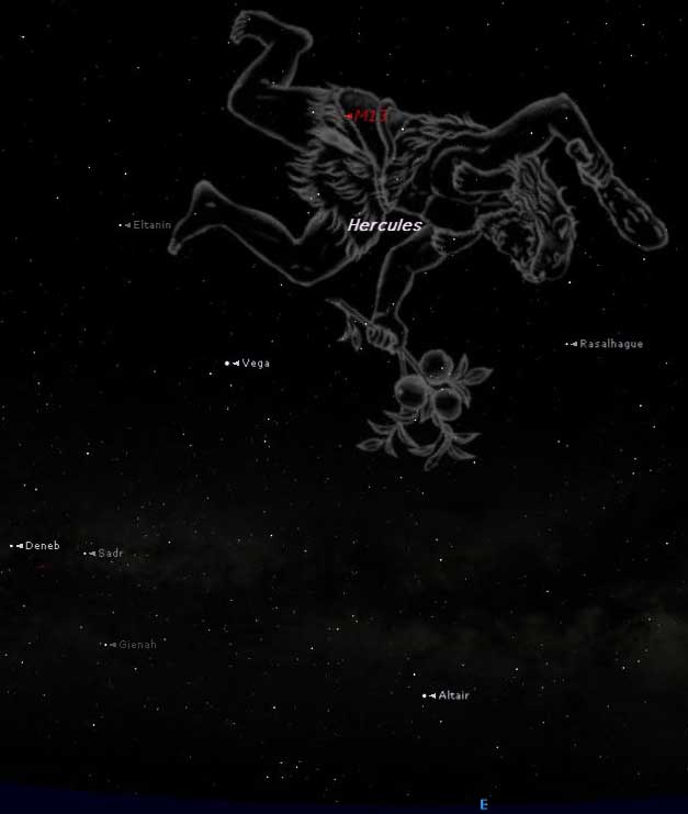 Hercules Constellation Now Showing in Summer Night Sky