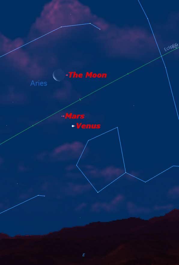 Celestial Triple Play: See Venus, Mars and the Moon